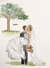 Load image into Gallery viewer, Custom wedding portrait, original watercolor and ink on archival quality watercolor paper, 8x10 illustration of bride, groom, or both