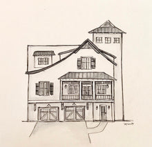 Load image into Gallery viewer, Custom Monochrome Home Portrait, black and white grayscale watercolor 8x10 original