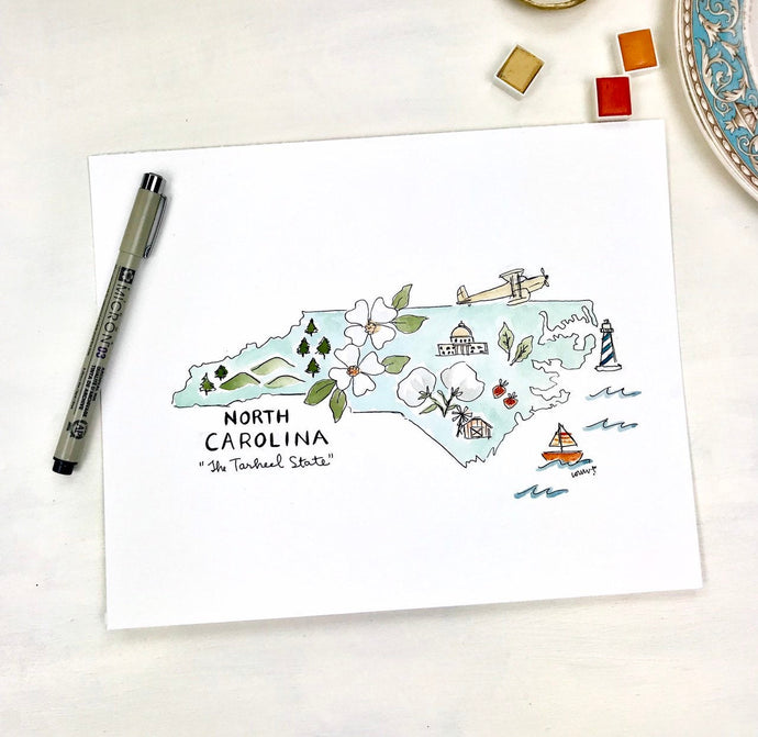 North Carolina state shape Gallery Wall Art, Florida Shape Art, Watercolor, Colored Pencil, State shape Original Archival Quality 8x10 print