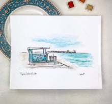 Load image into Gallery viewer, Tybee Island Lifeguard Stand and Pier Illustration Print, Historic District, Savannah Georgia 8x10 print