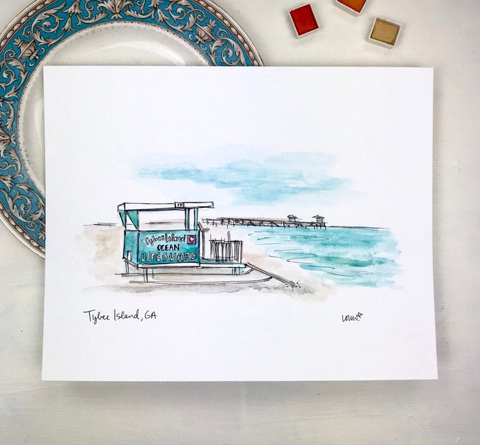 Tybee Island Lifeguard Stand and Pier Illustration Print, Historic District, Savannah Georgia 8x10 print