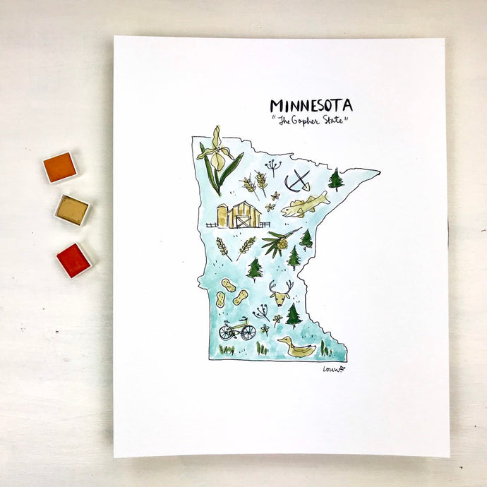Minnesota State Art Print, Personalized with your Favorite Town, Moving Gift, 8x10 print