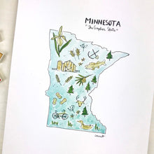 Load image into Gallery viewer, Minnesota State Art Print, Personalized with your Favorite Town, Moving Gift, 8x10 print