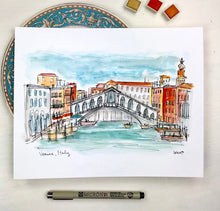 Load image into Gallery viewer, Venice, Italy watercolor illustration print, Archival Quality 8x10