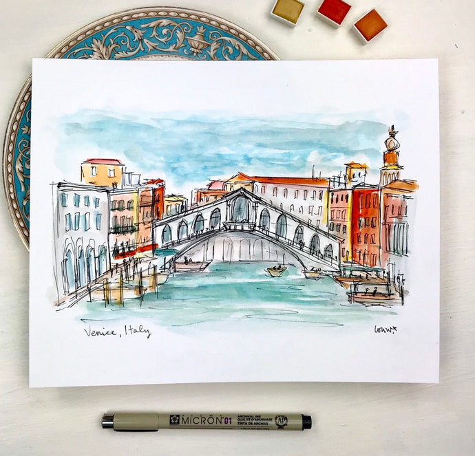 Venice, Italy watercolor illustration print, Archival Quality 8x10