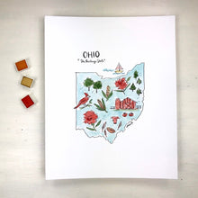 Load image into Gallery viewer, Ohio State Art Print, Personalized with your Favorite Town, Moving Gift, 8x10 print