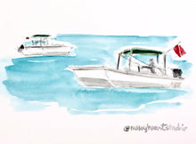 Load image into Gallery viewer, Dive Boats of Florida, Gulf of Mexico Nautical Illustration, Nature Coast, Coastal Art, watercolor print 8x10