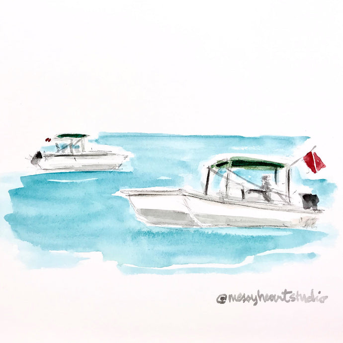 Dive Boats of Florida, Gulf of Mexico Nautical Illustration, Nature Coast, Coastal Art, watercolor print 8x10