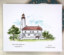 Load image into Gallery viewer, Sandy Hook Lighthouse, Historic lighthouse illustration, watercolor print 8x10