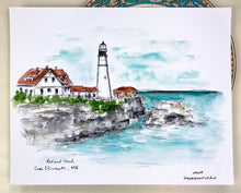 Load image into Gallery viewer, Portland Head Lighthouse, Cape Elizabeth, Maine Historic lighthouse illustration, watercolor print 8x10