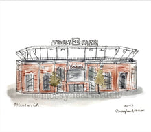 Load image into Gallery viewer, Truist Park Stadium, Braves, Atlanta, Georgia, Watercolor Illustration Portrait, Stadium art, baseball art Archival Quality 8x10 print