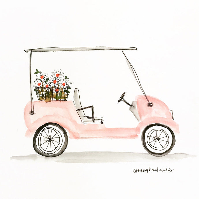 Pink Golf Cart, Best Friends Gift, 8x10 print