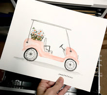 Load image into Gallery viewer, Pink Golf Cart, Best Friends Gift, 8x10 print