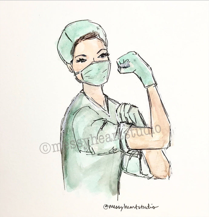 Rosie the Riveter Style Medical Hero, watercolor illustration, 8x10 print