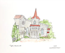 Load image into Gallery viewer, Tybee Island Wedding Chapel Illustration Print, Historic District, Savannah Georgia 8x10 print