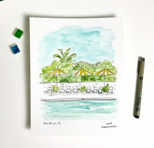 Load image into Gallery viewer, Palm Springs, California Vacation, coastal wall decor, west coast, Cali summer, Watercolor Archival Quality 8x10 print
