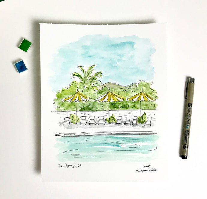 Palm Springs, California Vacation, coastal wall decor, west coast, Cali summer, Watercolor Archival Quality 8x10 print