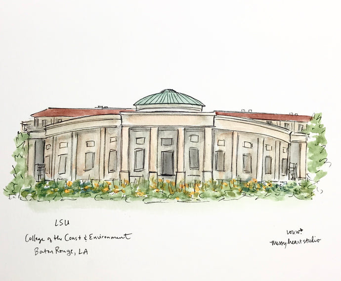 LSU College of Coast and Environment illustration, Louisiana State University Watercolor Illustration, Graduation Gift, 8x10 print