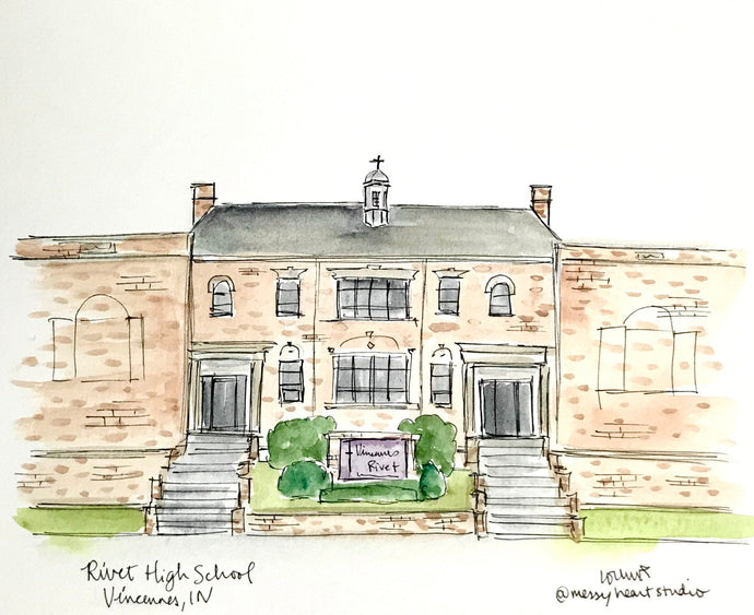 Rivet High School Vincennes, Indiana watercolor ink illustration Archival 8x10 print