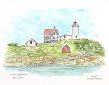 Load image into Gallery viewer, Nubble Lighthouse, York, Maine Historic lighthouse illustration, watercolor print 8x10