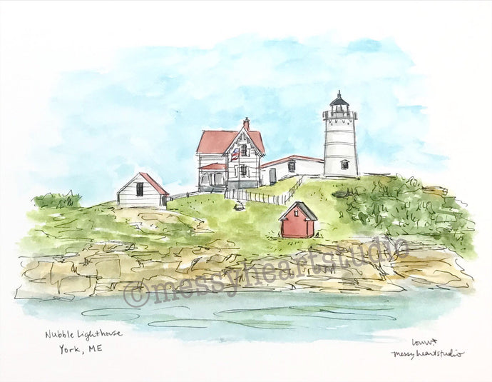 Nubble Lighthouse, York, Maine Historic lighthouse illustration, watercolor print 8x10