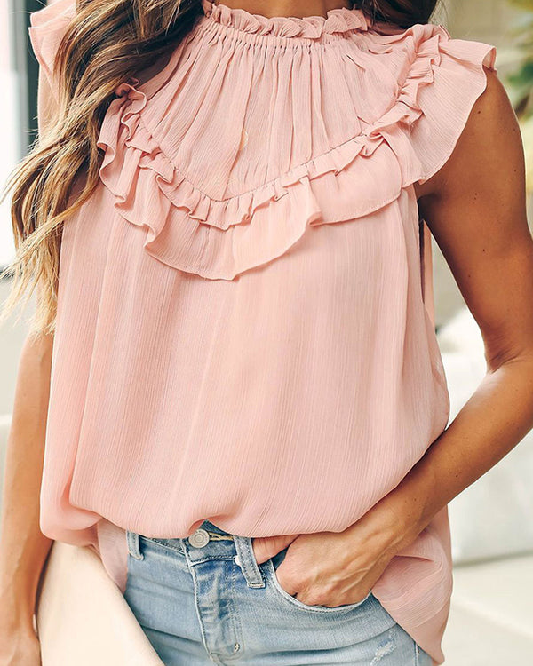 Solid Round Neck Ruffles Top
