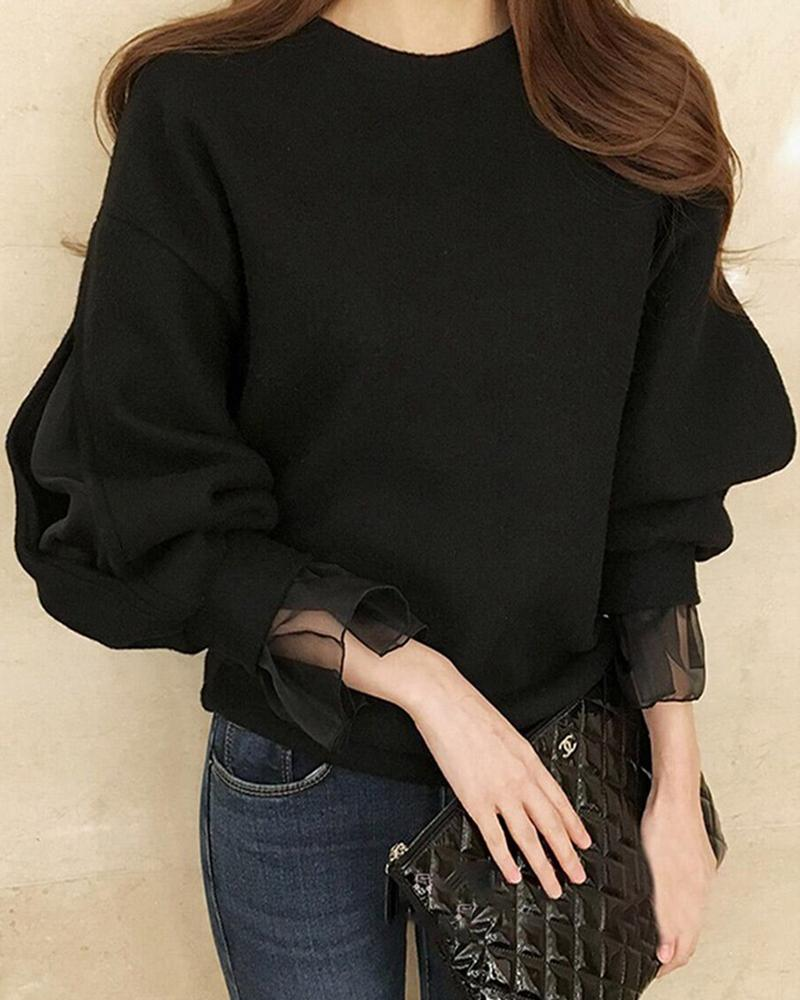 Solid Mesh Sleeve Casual Blouse