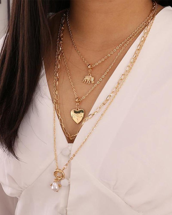 Elephant Love Sailor Buckle Multi-layer Necklace