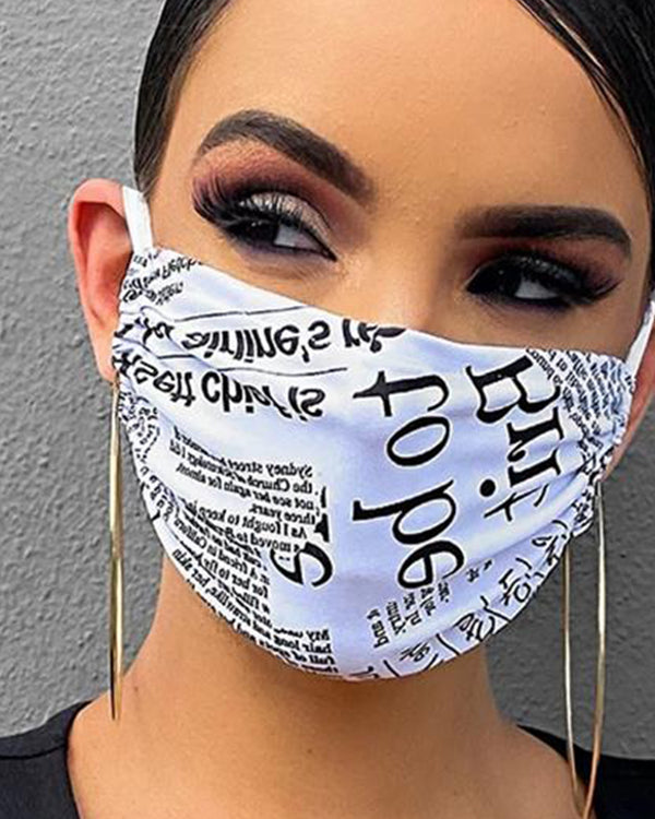 Letter Print Breathable Mouth Mask Washable And Reusable