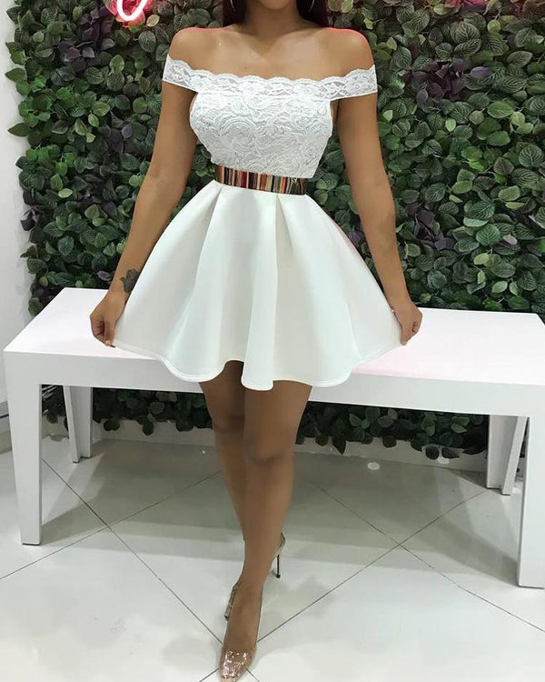 Off Shoulder Lace Splicing Pleated Dress