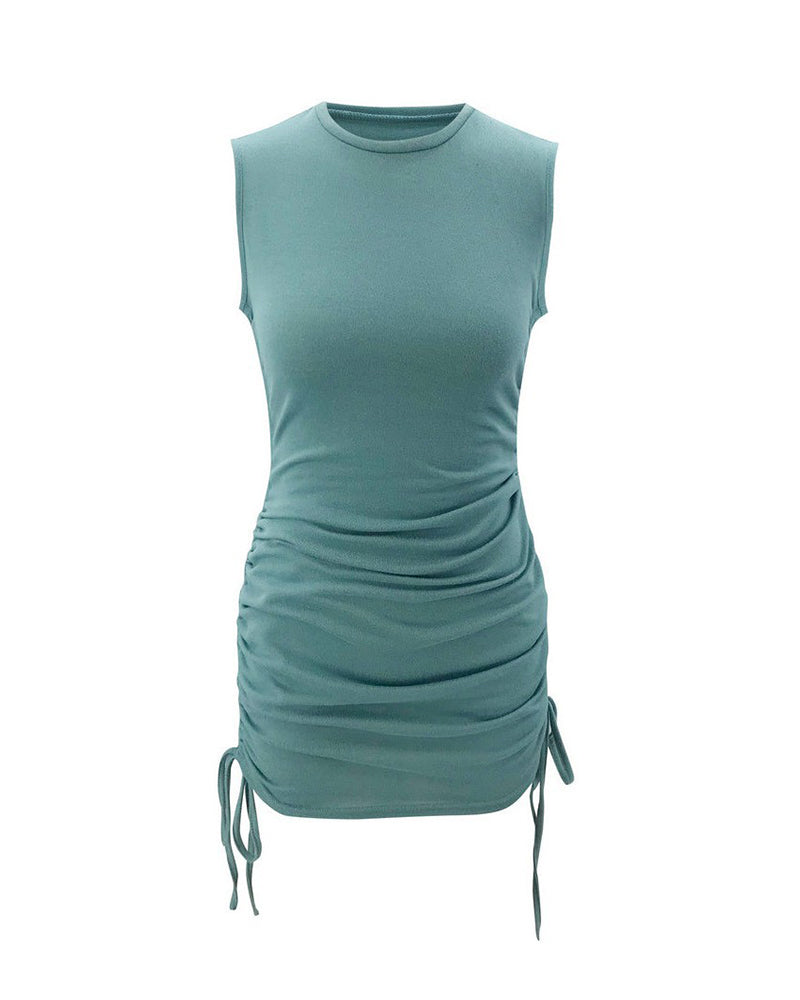 Solid Drawstring Ruched Bodycon Dress