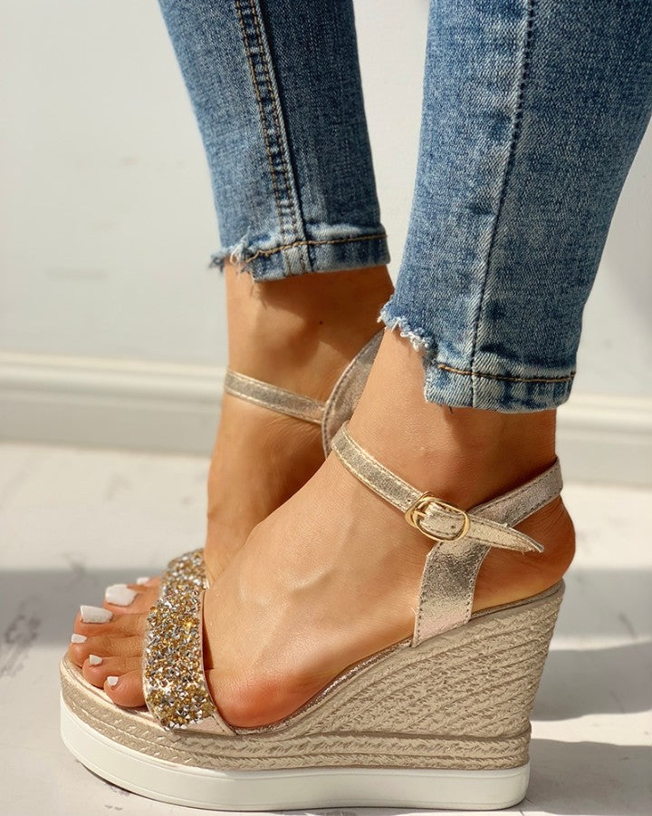 Studded Detail Platform Espadrille Wedge Sandals