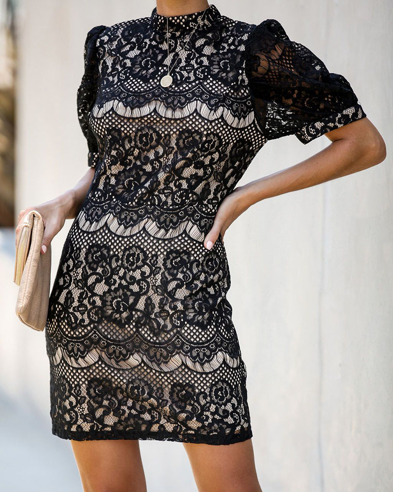 Crochet Lace Short Sleeve Mini Dress