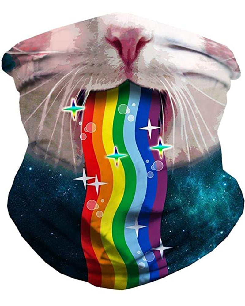 Cat & Rainbow Print Breathable Face Bandana Magic Scarf Headwrap Balaclava