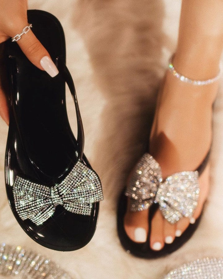 Studded Bowknot Design Open Toe Sandals
