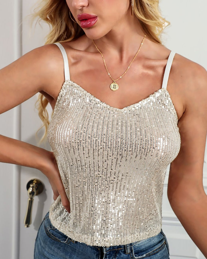Sequins V-Neck Spaghetti Strap Tank Top