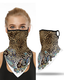 Leopard Print Breathable Ear Loop Face Cover Windproof Bandana