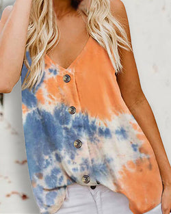 Button Design Tie Dye Print Cami Top