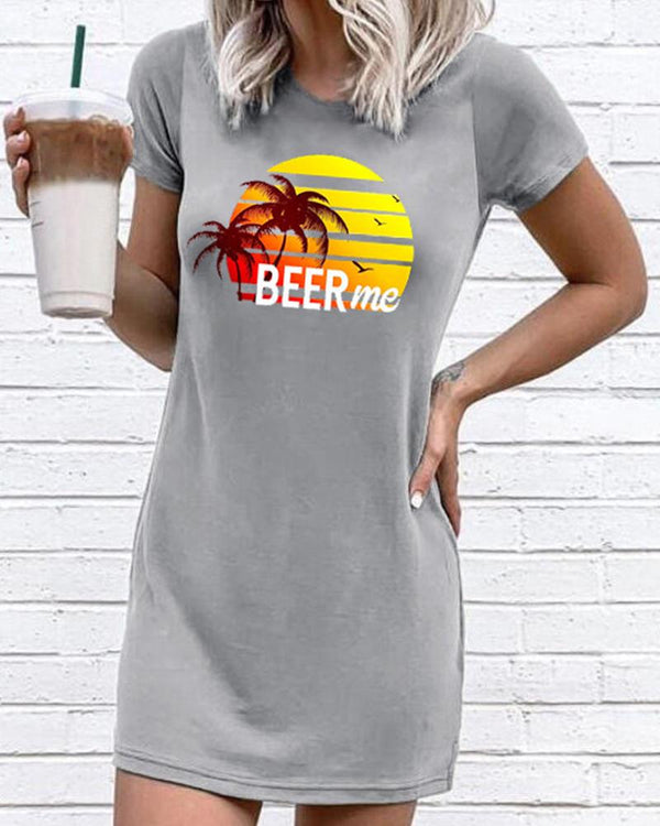 Beer Me Beach Print T-Shirt Dress