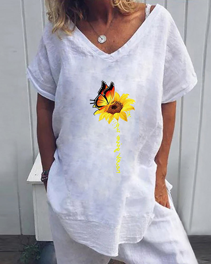 Sunflower Butterfly Print Letter Pattern Casual T-shirt