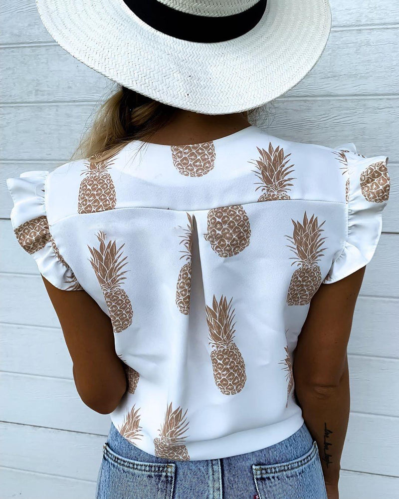 Pineapple Print Flutter Sleeve Casual Blouse