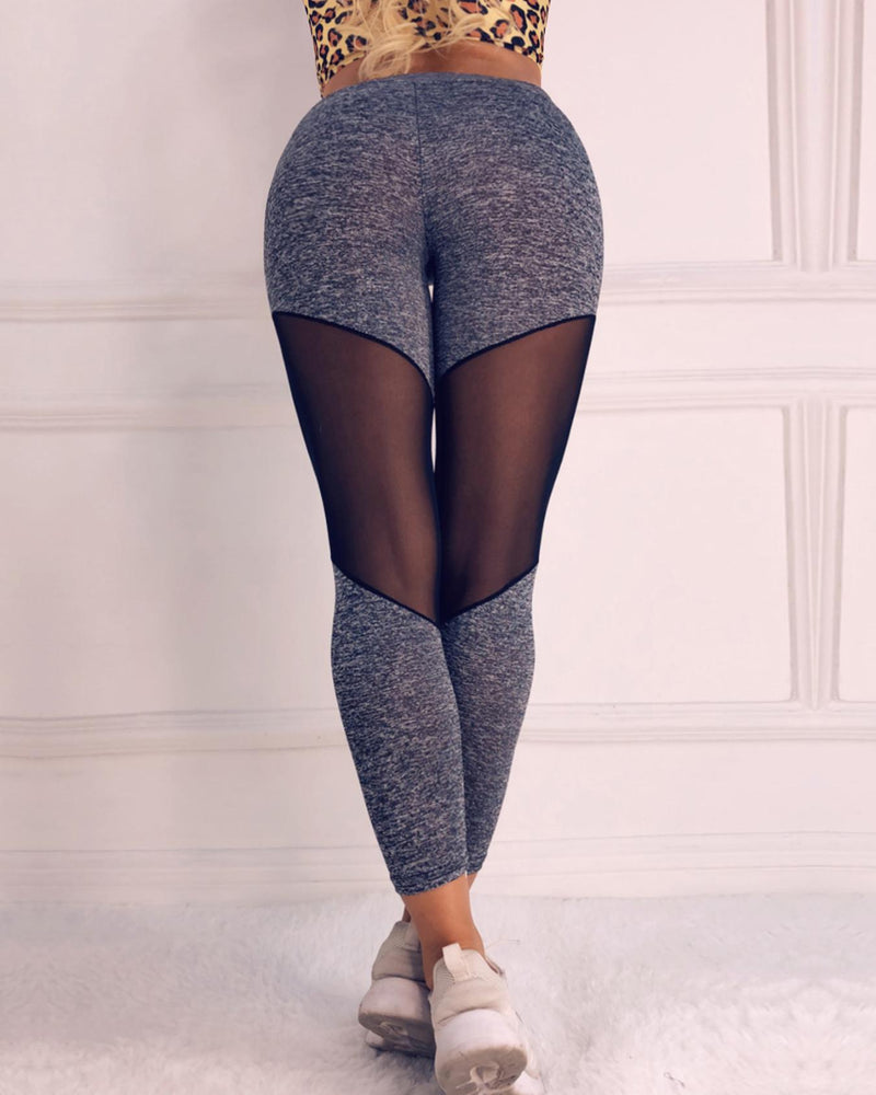 Mesh Insert High Waist Workout Leggings Butt Lift Stretchy Yoga Pants