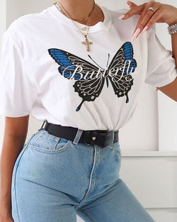 Butterfly Print Round Neck T-shirt