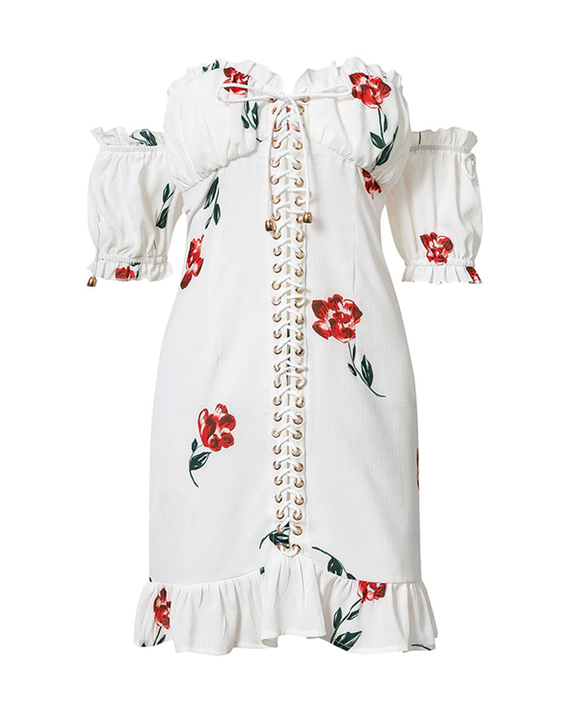 Off Shoulder Print Eyelet Lace-up Ruffles Dress