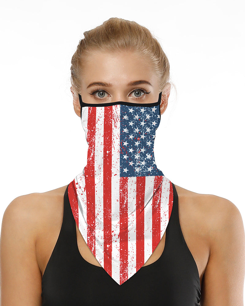 Flag Letter Print Breathable Ear Loop Face Cover Bandana Windproof Motorcycling Dust Outdoors