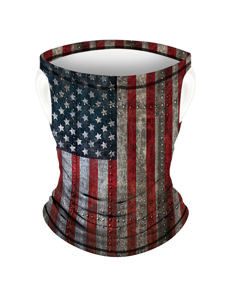 Flag Print Breathable Ear Loop Face Bandana Headwrap