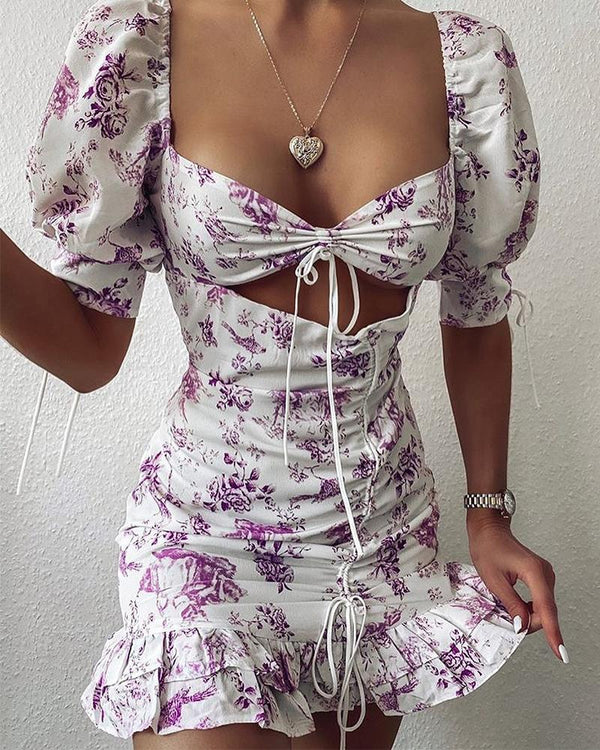 Floral Print Cut Out Mini Dress