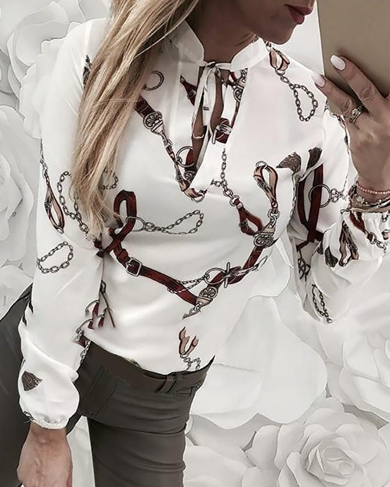 Chain Print Tied Long Sleeve Shirt