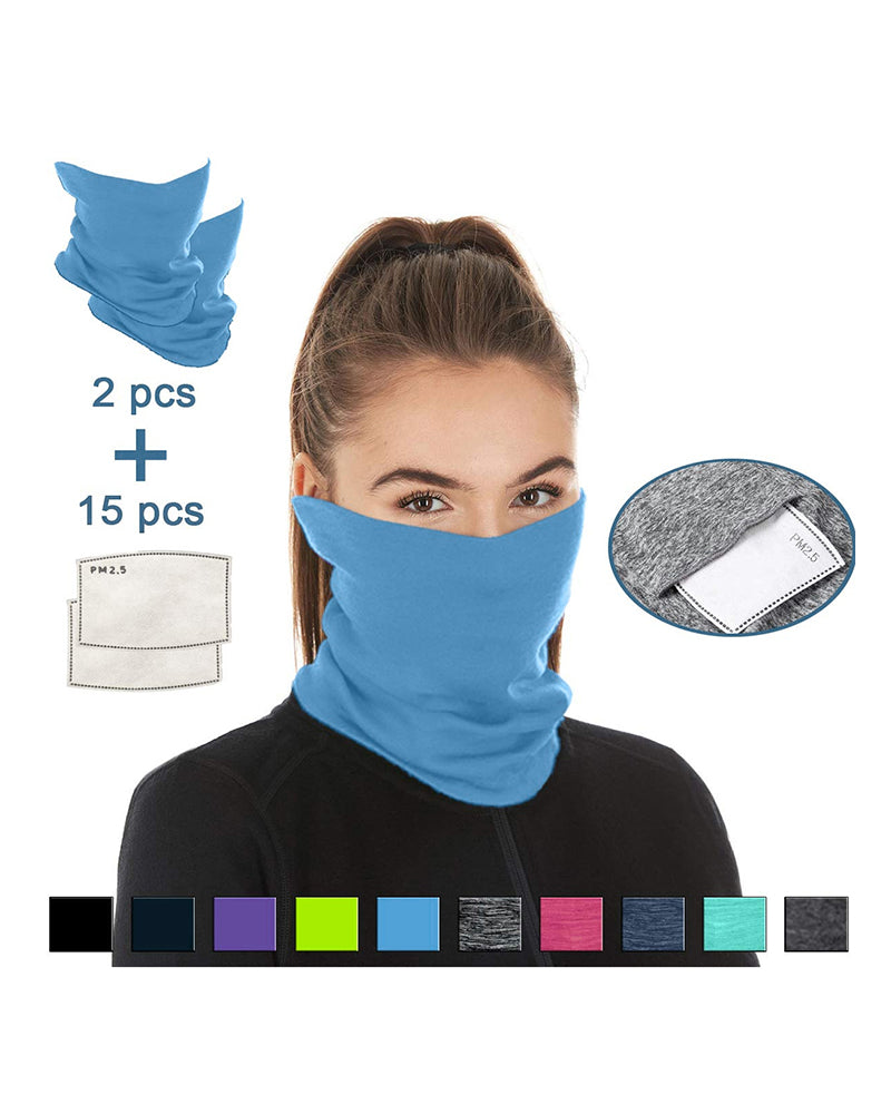 Breathable Face Bandana Magic Scarf Headwrap Balaclava With 15PCS Replaceable Filter