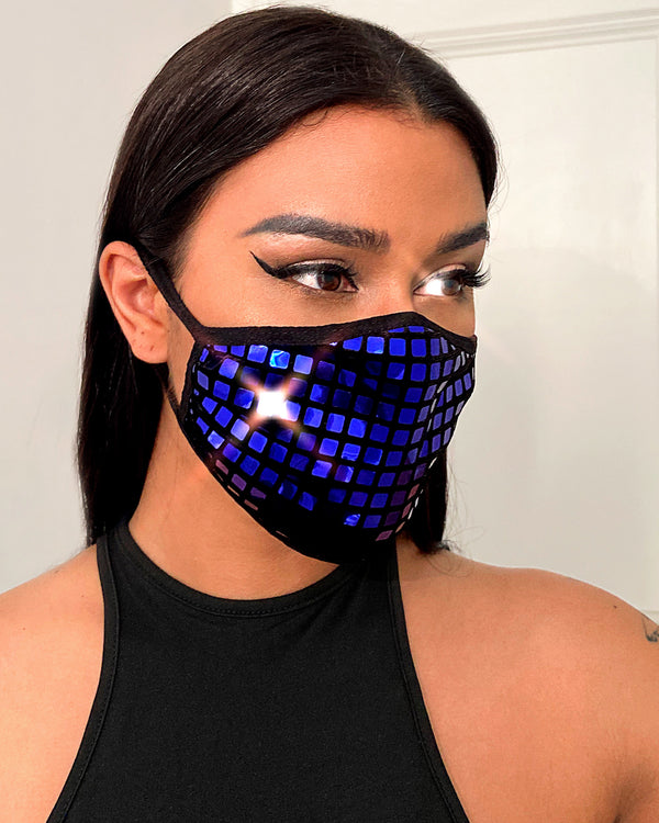 Glitter Grid Pattern Breathable Ear Loop Mouth Mask Reusable